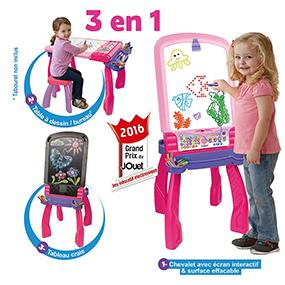 Vtech 193555 magi chevalet interactif 3 en 1 rose for Bureau interactif 3 en 1