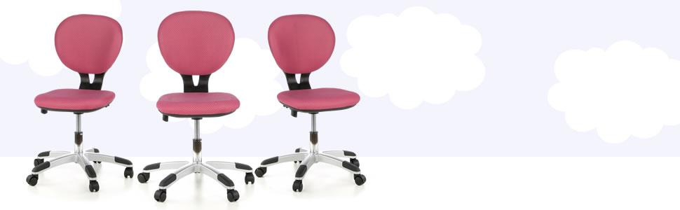3D en hjh accoudoirsdossier hauteurtissu maille en OFFICE rose 670200 de enfantchaise sans BILLY ergonomiqueréglable chaise bureau enfant KID 5AjL4R