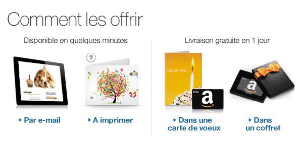 Comment offrir les chèques-cadeaux Amazon.fr