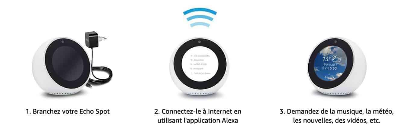 Configuration et utilisation simples - 1. Branchez votre Echo Spot | 2. Connectez-le à Internet en utilisant l'application Alexa | 3. Demandez de la musique, la météo, les nouvelles, des vidéos, etc.
