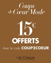 Coups de coeur mode 15 euros offerts