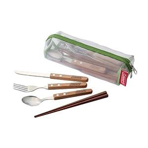 カトラリーセット4 手に馴染む天然木製取手 水切れに優れたメッシュケース付き