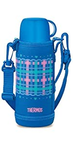 サーモス 真空断熱 2WAYボトル 0.83L/0.8L チェックブルー