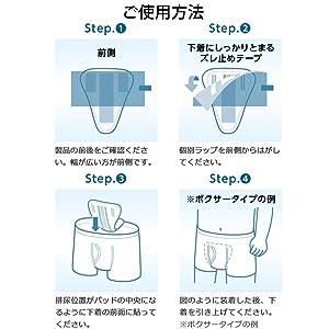 1.製品の前後をご確認ください。幅が広い方が前側です。 2.個別ラップを前側からはがしてください。 3.排尿位置がパッドの中央になるように下着の前面に貼ってください。 4.図のように装着した後、下着を