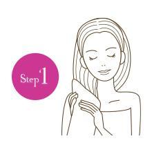 【Step1】髪に残った水分をしっかり取って浸透力アップ!