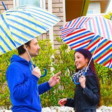 Pair Umbrella(ぺアンブレラ) キッズ傘 長傘 イエロー系 ブルー/ネイビー系 ボーダー柄 バードゲージ(バブル)傘 手開き 46cm~50cm 8本 傘 カサ かさ 通 学 通園 子ど