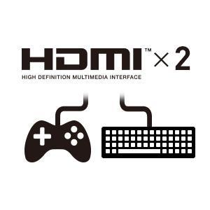PCもゲーム機も同時に接続できるHDMIを2ポート搭載