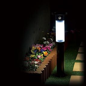 ハイブリッド ガーデン ソーラー センサーライト 庭 アプローチ 照明 充電