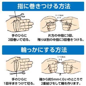 デンタルフロスの持ち方は2通りあります。 1.指に巻きつける方法 しっかりと固定してプラーク(歯垢)を効果的に除去します。 2.輪っかにする方法 小さなお子様や年配の方にも簡単にお使い頂けます。