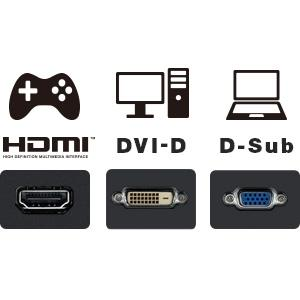 HDMI、DVI-D、D-Sub 15ピンの3系統の入力端子を搭載
