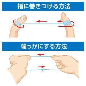 使ったデンタルフロス部にはプラークがついているので、清潔な部分を使う必要があります。 1.指に巻きつける方法 中指に汚れた部分を巻きつけて、清潔な部分を送り出してください。 2.輪っかにする方法 使っ