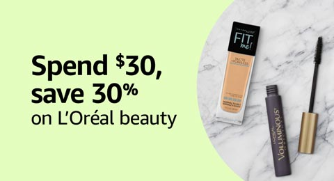 Spend $30, save 30% on L'Oréal beauty