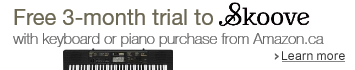 Free 3-month trial to Skoove with keyboard or piano purchase from Amazon.ca