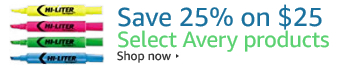 Save 25% off $25 of Select Avery Product