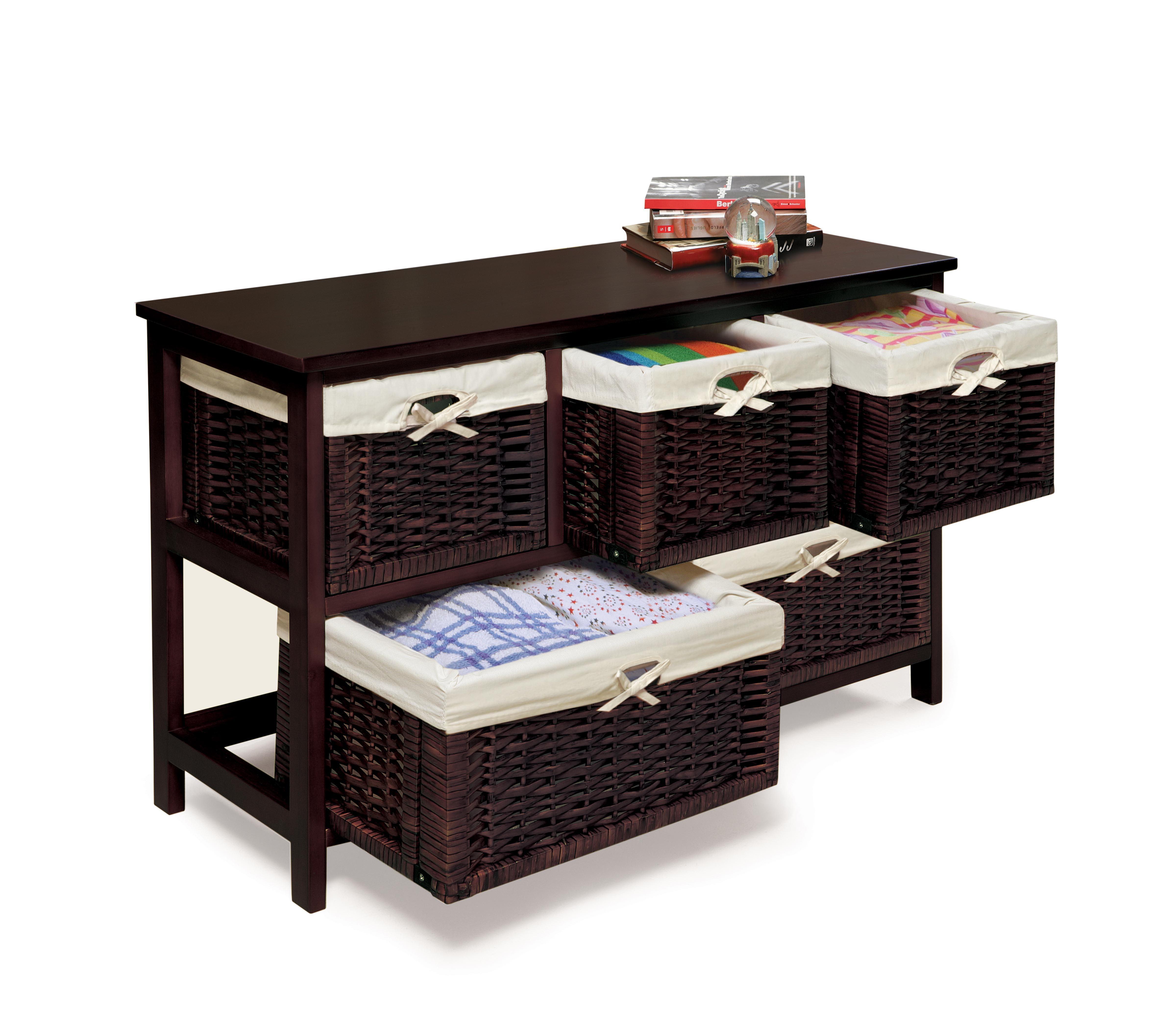 badger basket five basket storage unit with wicker baskets espresso baby. Black Bedroom Furniture Sets. Home Design Ideas