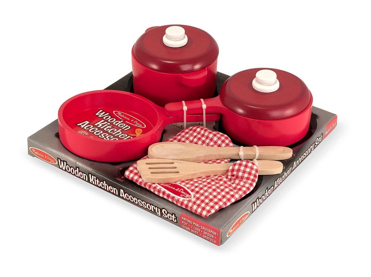 Melissa doug deluxe wooden kitchen accessory set pots for Best kitchen set for 4 year old