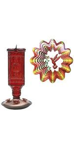 Perky-Pet Antique Glass Hummingbird Feeder and Wind Spinner Set, Red