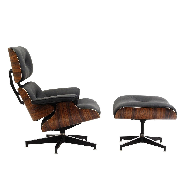 lexmod eaze lounge chair in black leather and palisander wood home kitchen. Black Bedroom Furniture Sets. Home Design Ideas