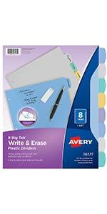 Write and erase dividers, erasable dividesrs