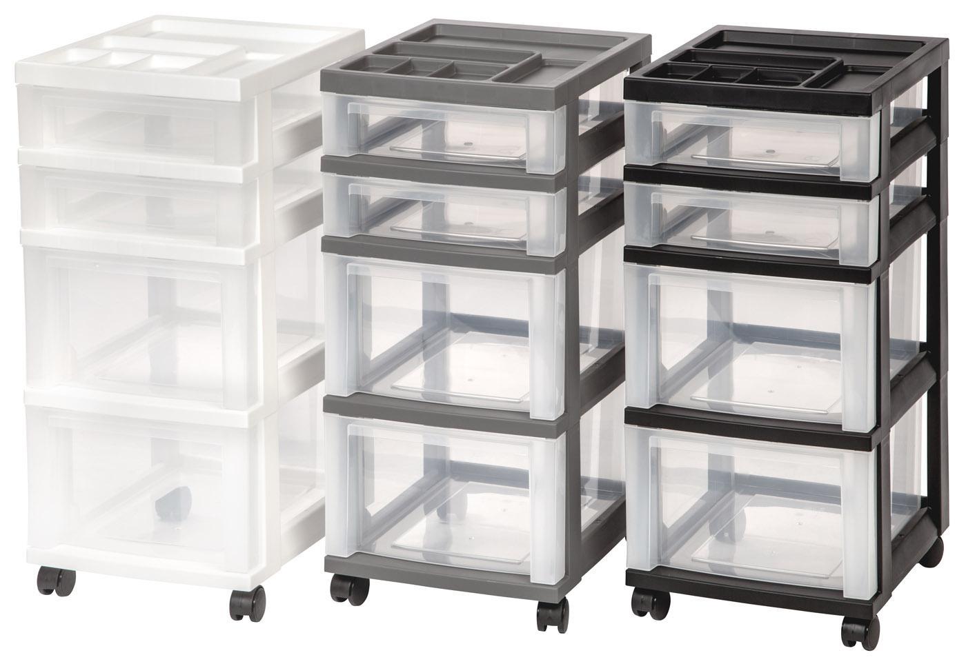 iris 4 drawer rolling storage cart with organizer top gray home kitchen. Black Bedroom Furniture Sets. Home Design Ideas