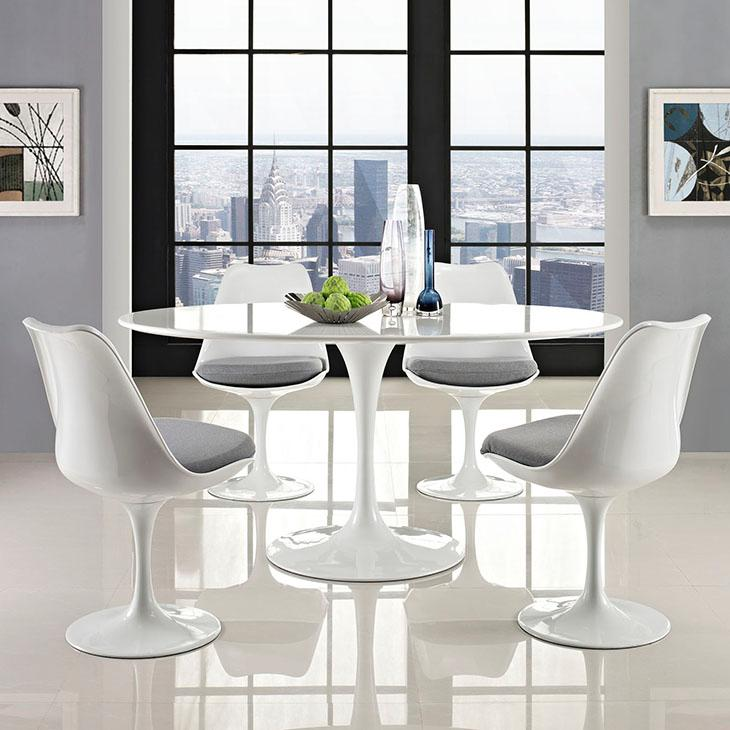 Modway Lippa OvalShaped Dining Table Inch White Amazonca - Dining table 60 inches long