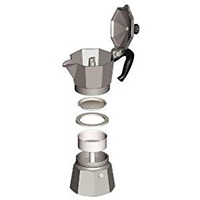 Bialetti;espresso;moka express;coffee;stove top;italian;imported;grounds;steam;