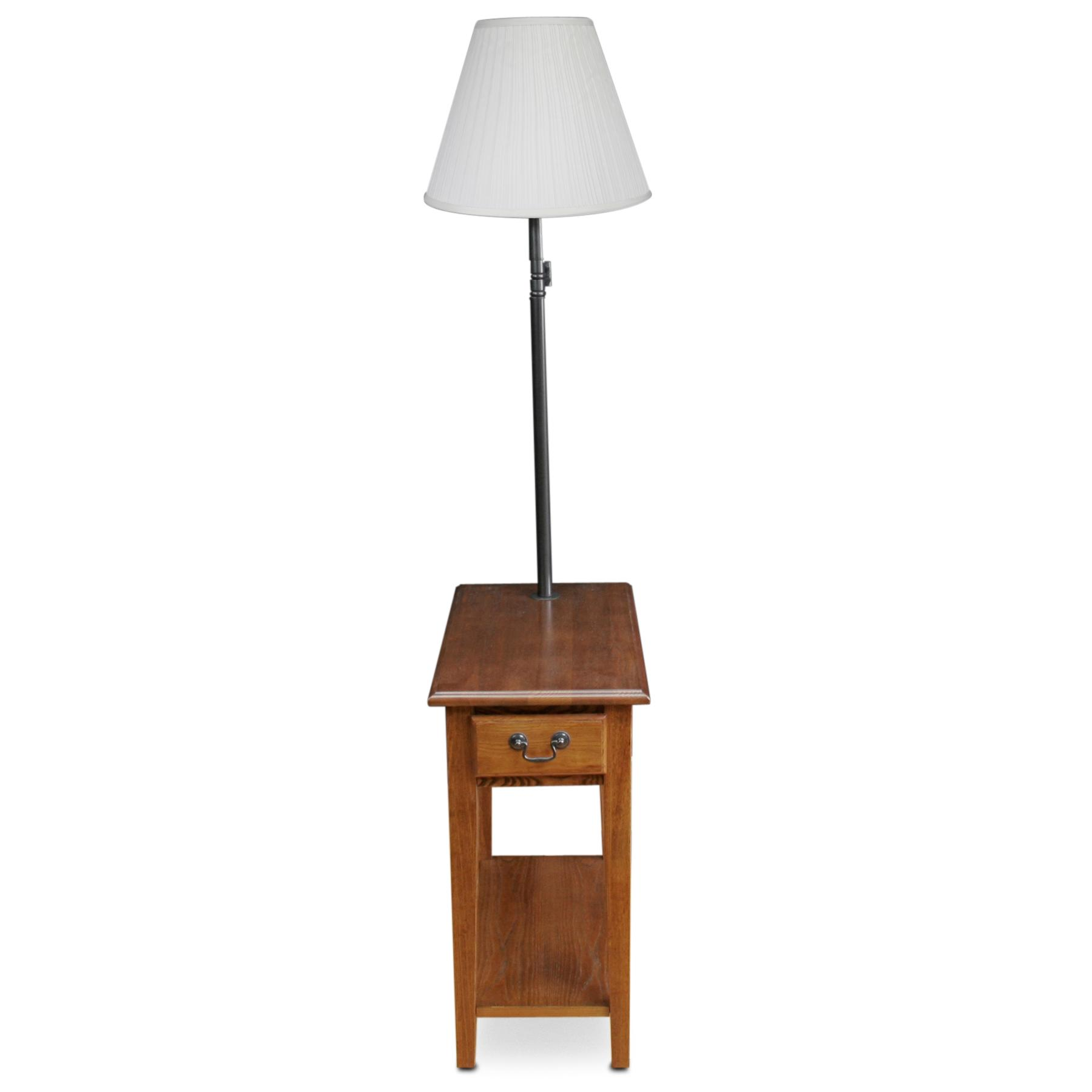 Leick chair side lamp table with drawer medium oak for Leick swing arm floor lamp with wood end table