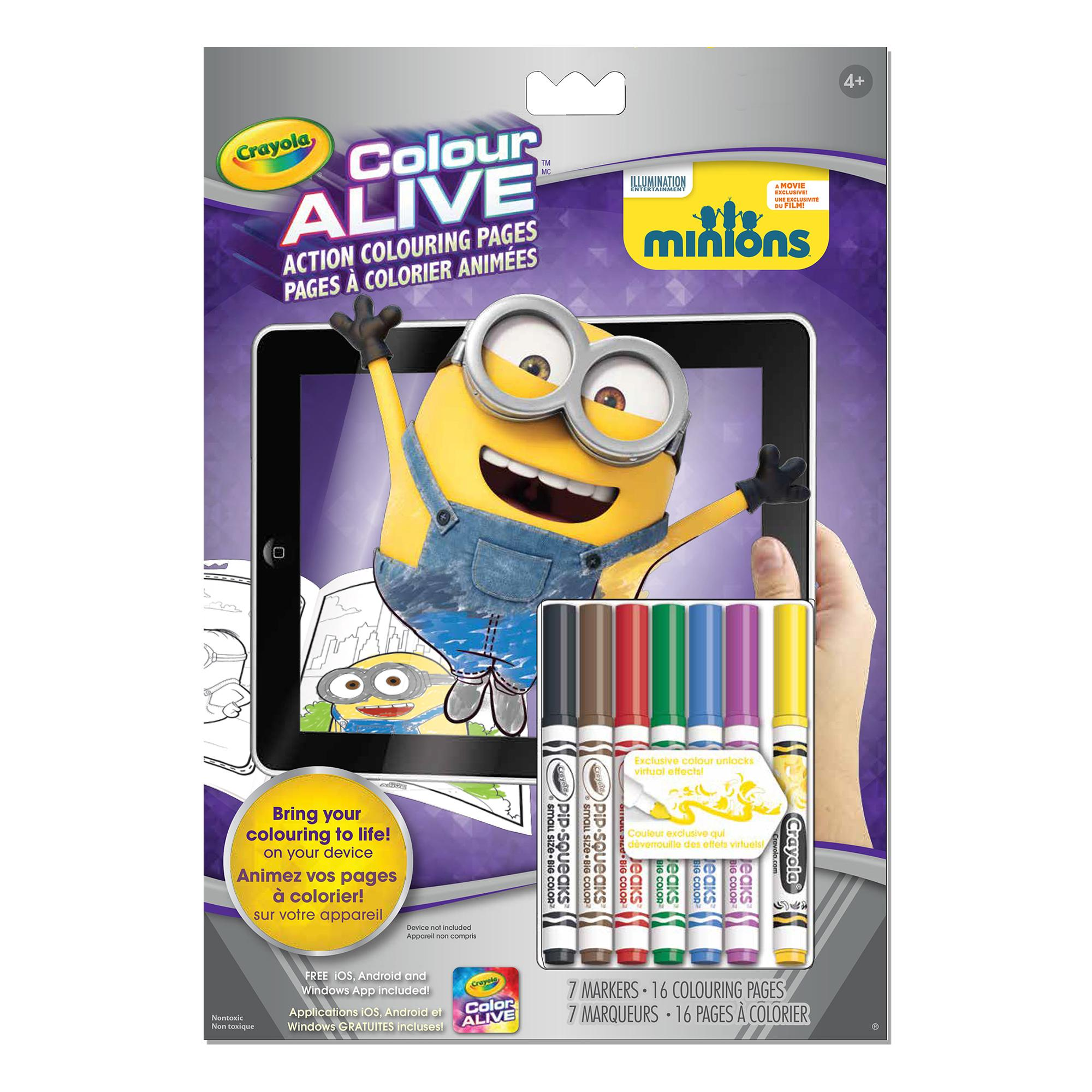 colour alive minions colouring pages