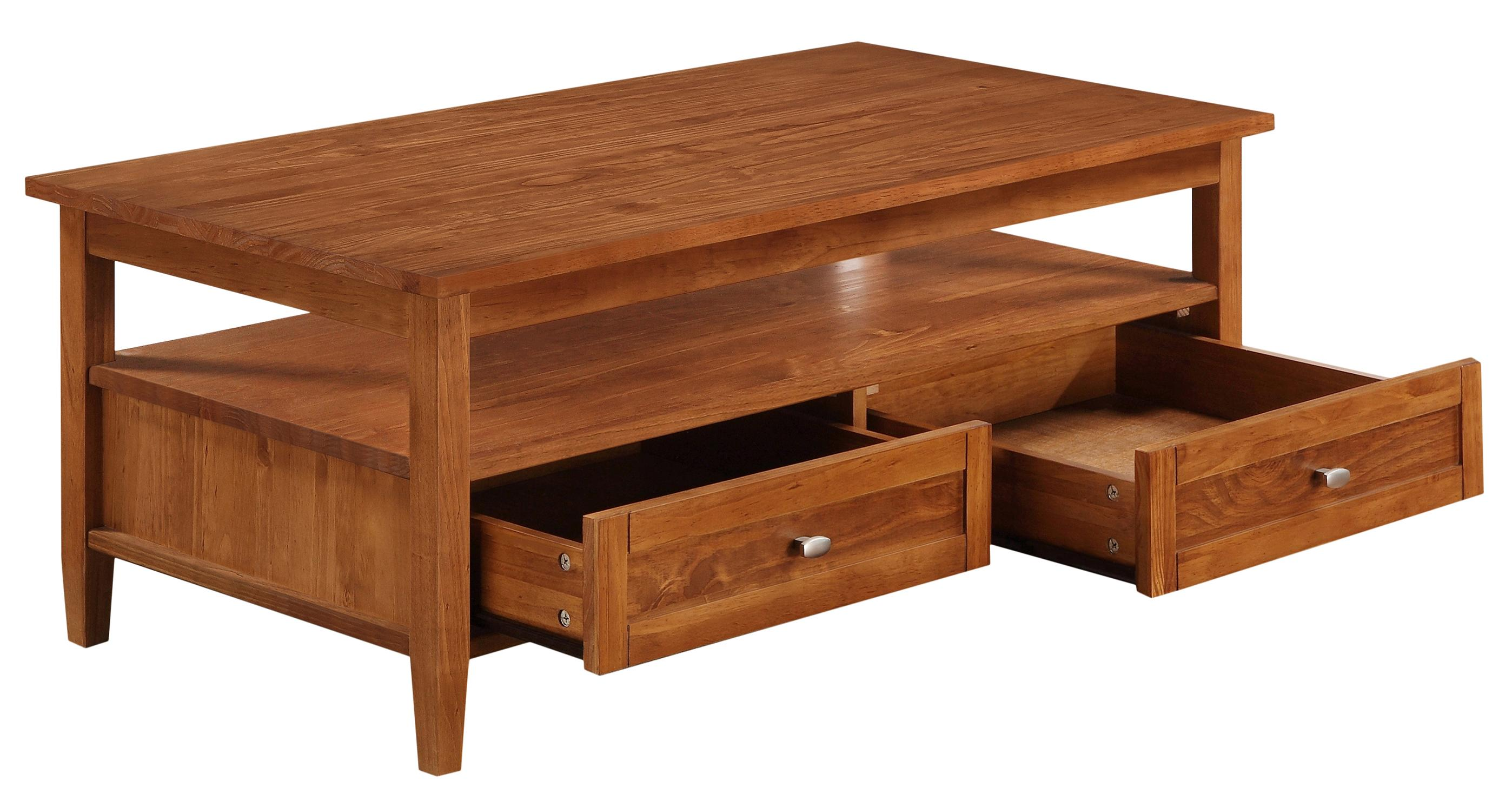 Simpli home warm shaker collection coffee table honey for Coffee tables 50cm wide