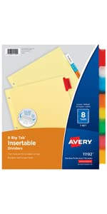 Insertable dividers, dividers with inserts