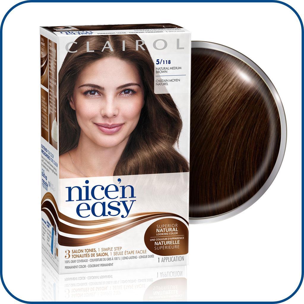 Clairol Nice 'n Easy, 5/118 Natural Medium Brown ...
