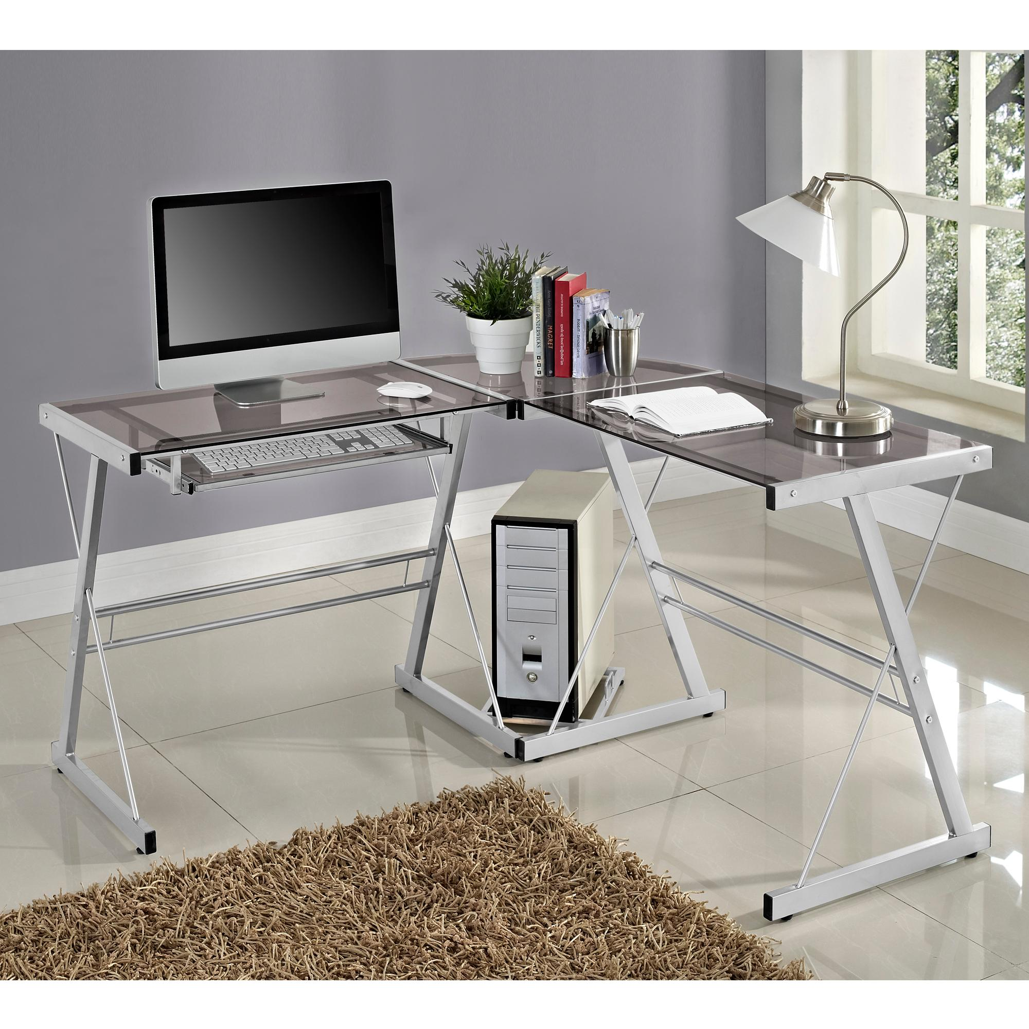 Walker Edison 3 Piece Contemporary Glass And Steel Desk