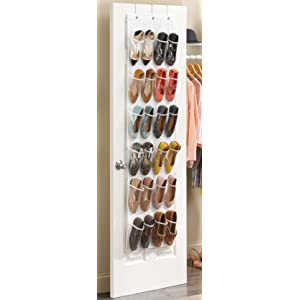 Whitmor 6044 13 ctf white crystal collection over the door for Zapatero tela colgar