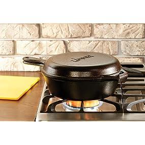 combo cooker, deep skillet, frying pan, dutch oven, skillet, griddle