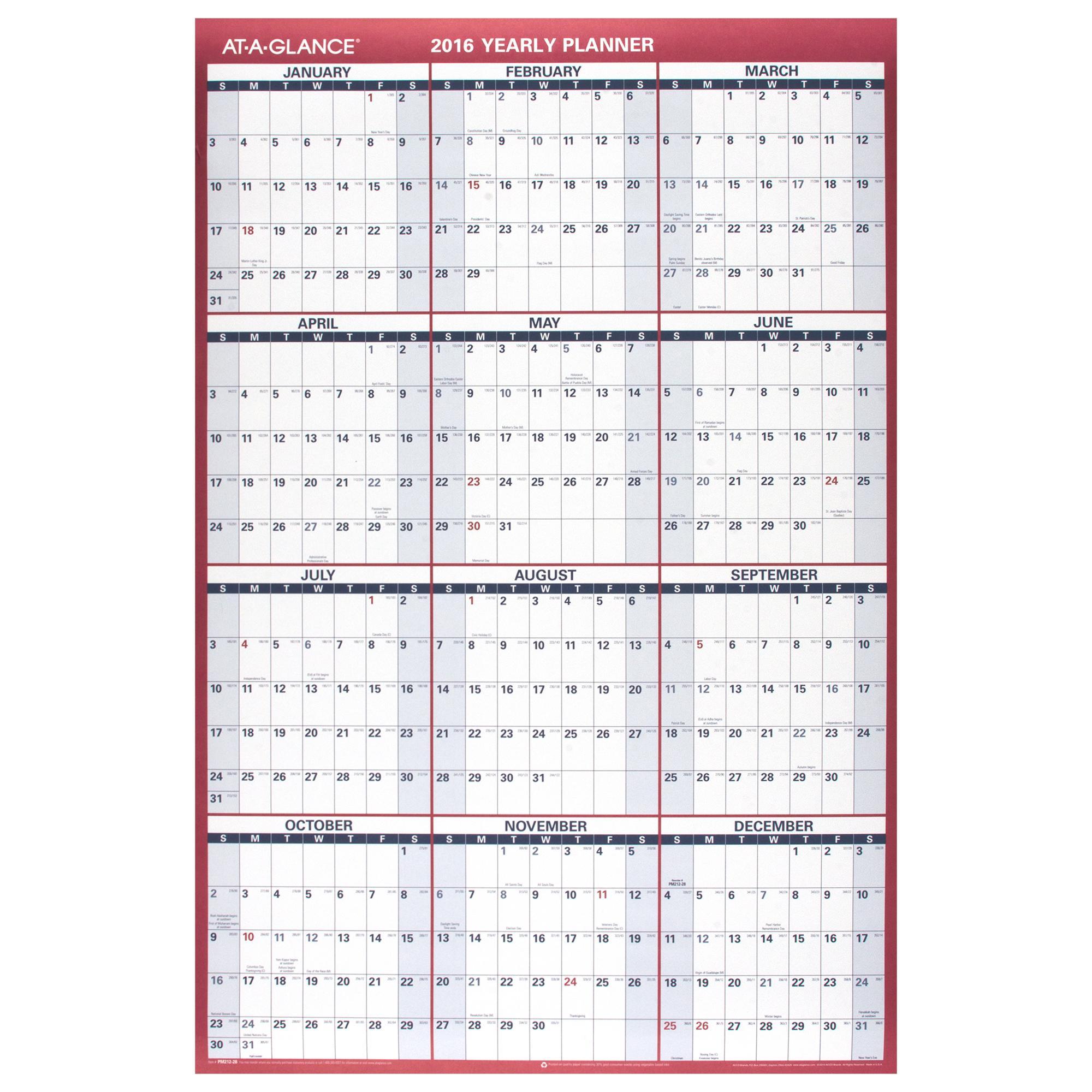 2016 calendar vertical