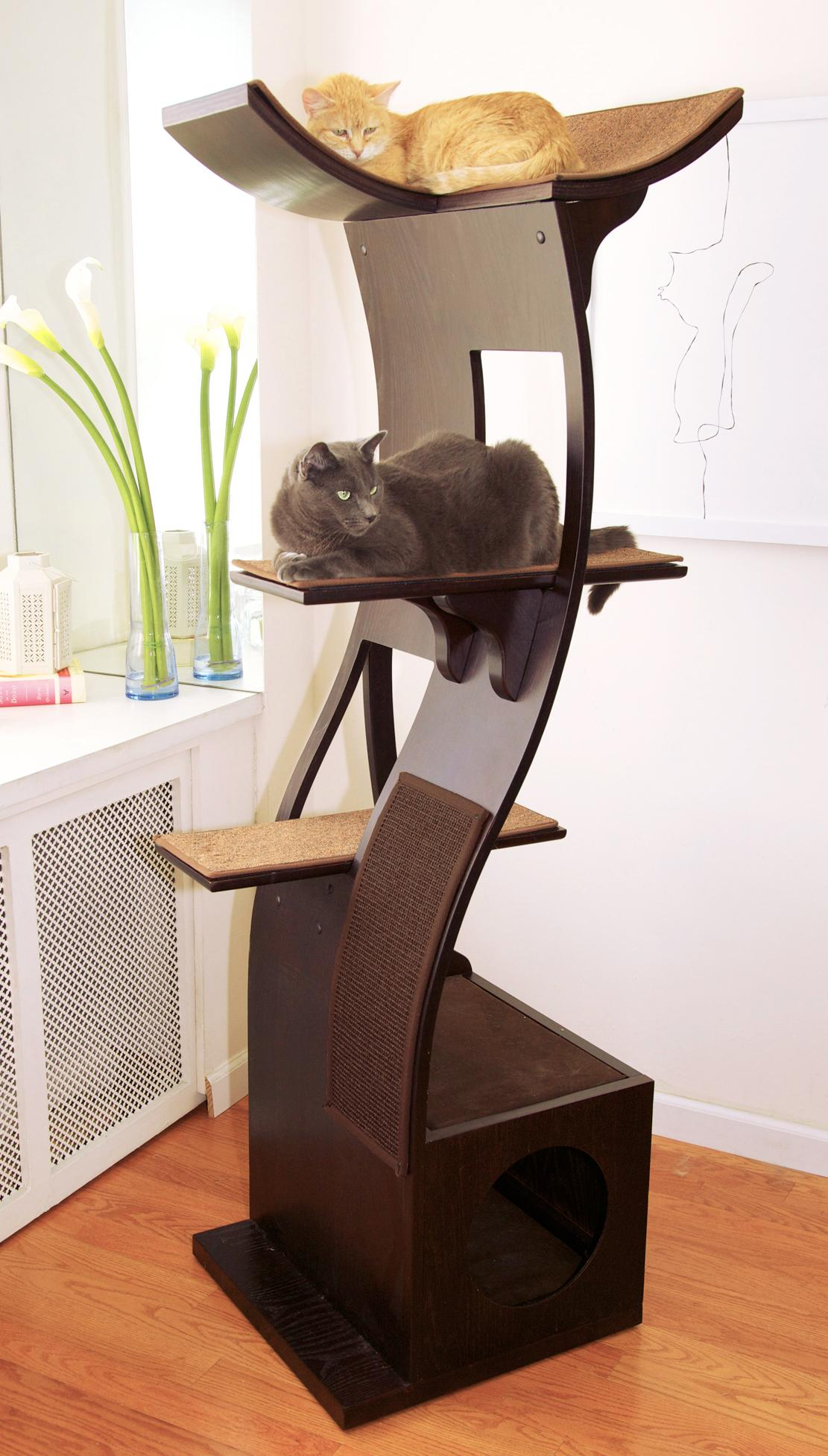 the refined feline lotus cat tower in espresso amazonca pet  - view larger