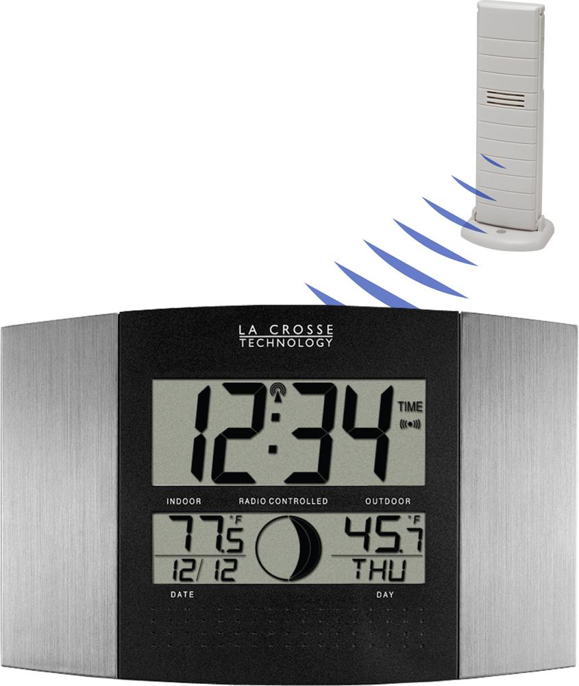 La crosse technology atomic wall clock with indooroutdoor view larger amipublicfo Images