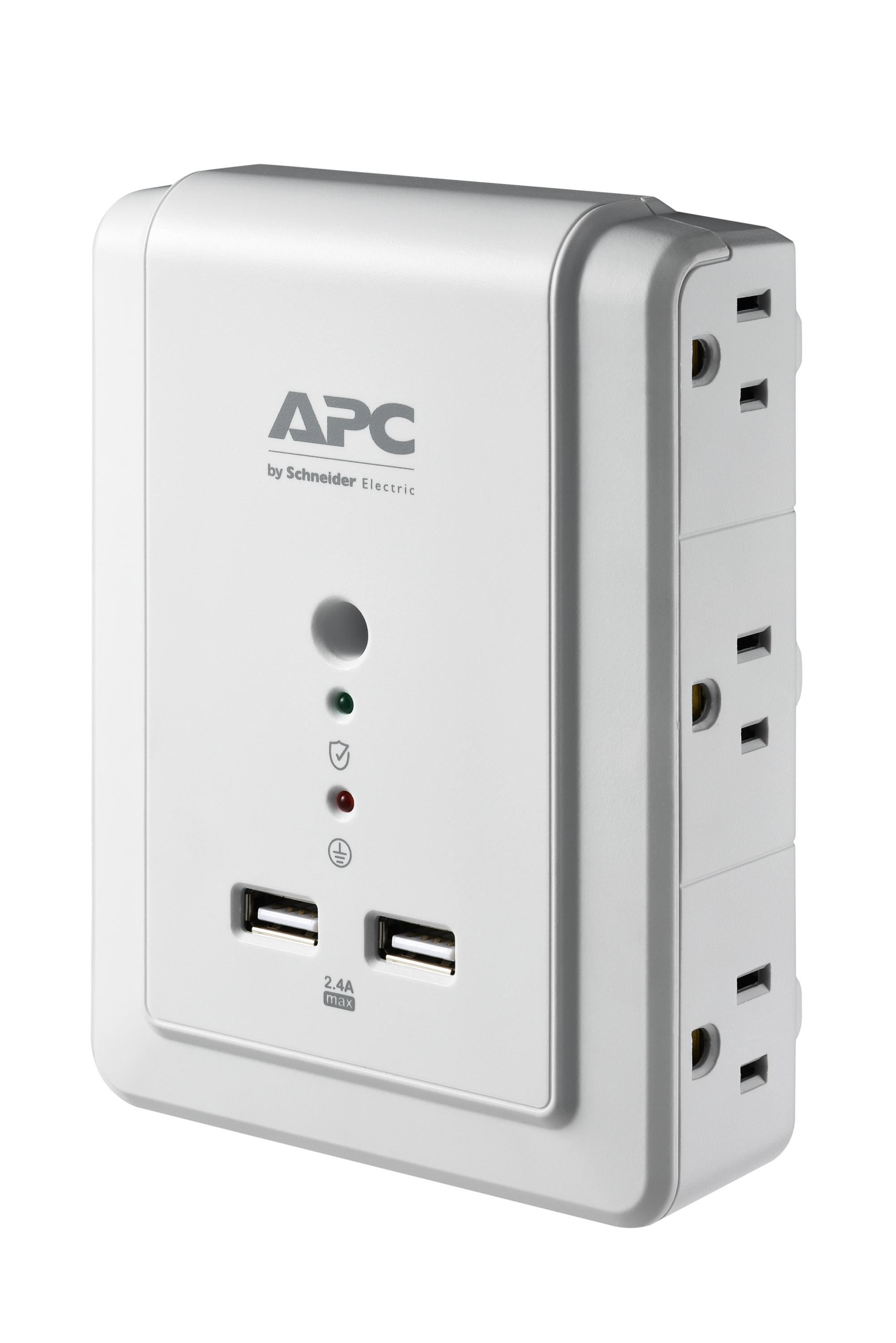 APC 6-Outlet Wall Surge Protector 1080 Joules with USB Charger Ports ...
