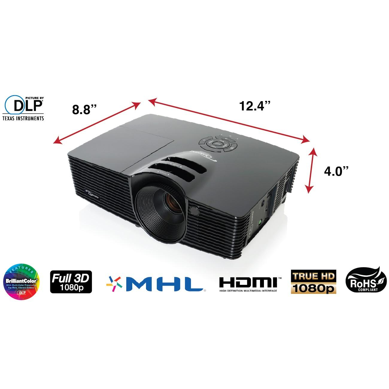 Optoma hd141x 1080p 3d dlp home theater projector for Hd projector amazon