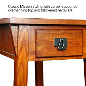 9059 Mission Chairside Table, Mission Style, Casual,Leick, Solid Wood,oak