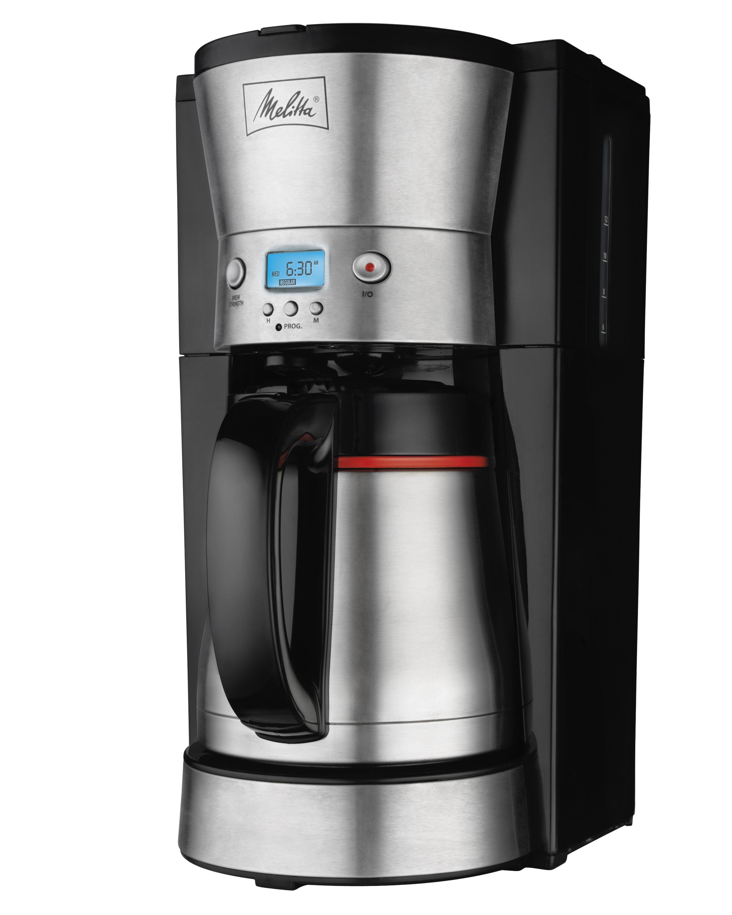 Melitta 46894C 10-Cup Programmable Coffee Maker with Thermal Carafe, Black and Stainless Steel ...