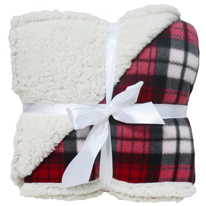 Plaid Sherpa Throw: J & M Home Fashions Winter Plaid Sherpa Fleece Blanket, 50