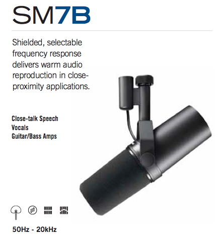 Shure Sm7b Vocal Dynamic Microphone Cardioid Amazon Ca