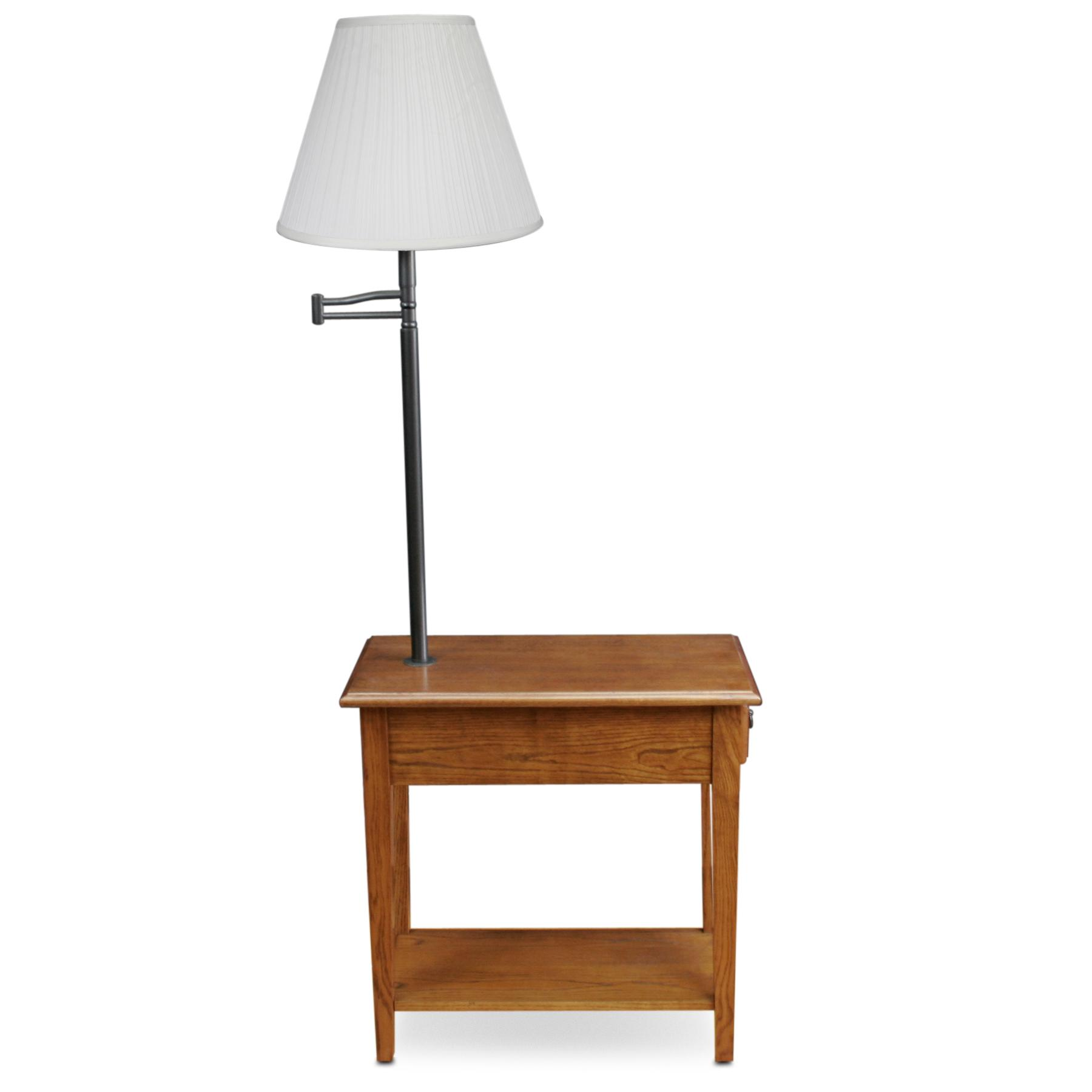Leick Chair Side Lamp Table with Drawer, Medium Oak: Amazon.ca ...