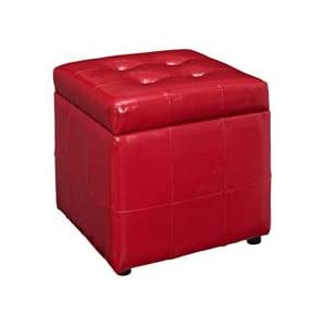 Good Volt Storage Ottoman In Red
