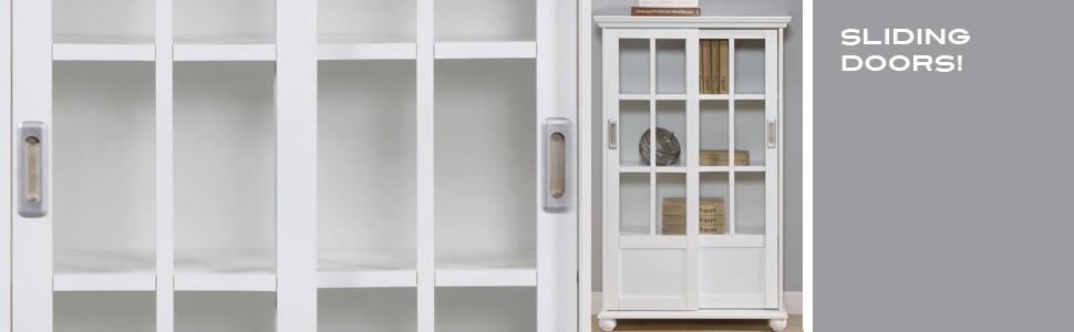 Altra 9448096 Bookcase With Sliding Glass Doors White Amazon