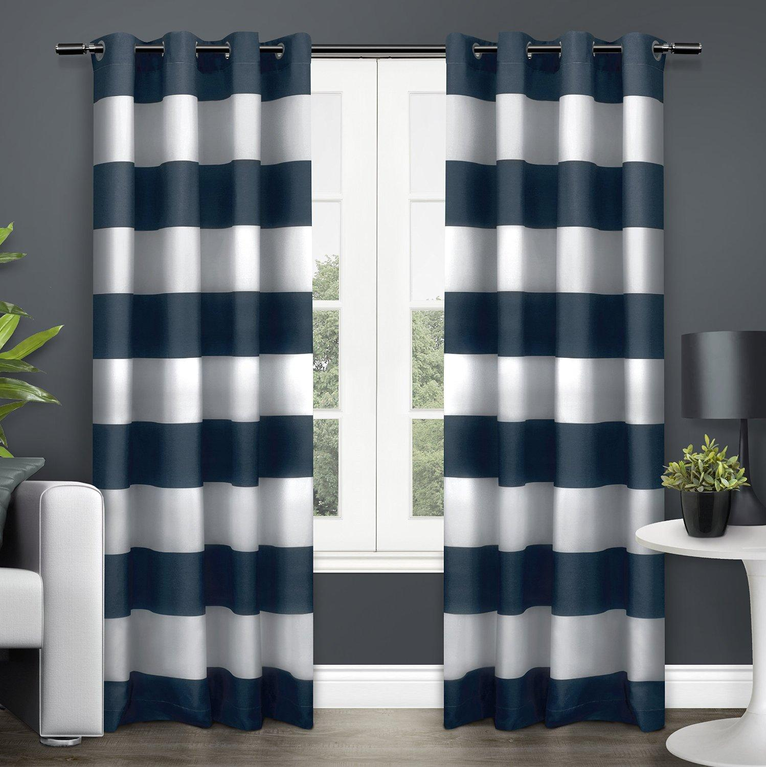 Navy curtains blackout - Navy Stripe Curtains From The Manufacturer