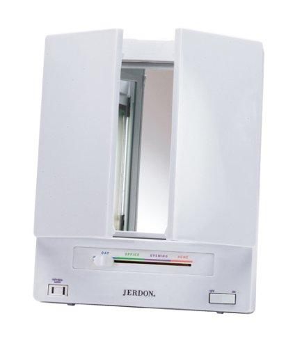 Jerdon Jgl9w Tabletop Tri Fold Two Sided Lighted Makeup