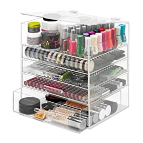 make up, makeup, cosmetic, organizer, acrylic, large, clear, icebox