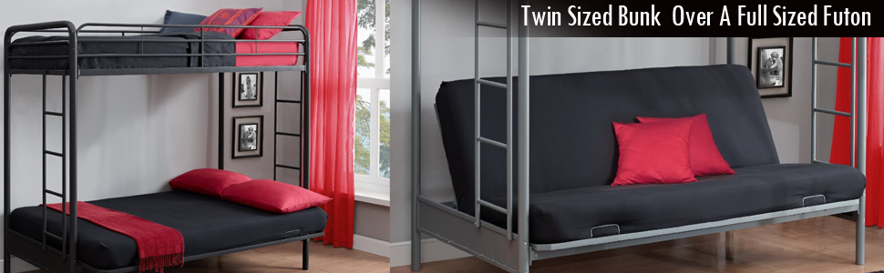 Twin Over Full Futon Bunk Bed Black Or Silver
